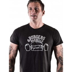 T-shirt black burger and barbell for men - NORTHERN SPIRIT
