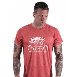 T-shirt red burger and barbell for men - NORTHERN SPIRIT
