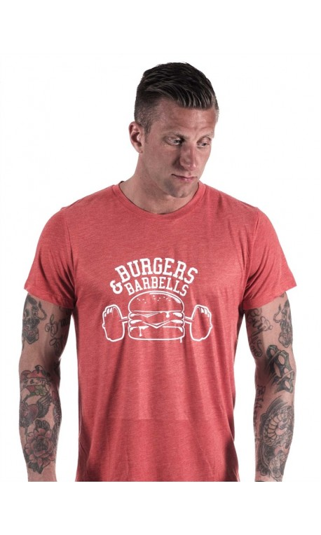 T-Shirt Homme entrainement - Red Tee Burger and Barbel
