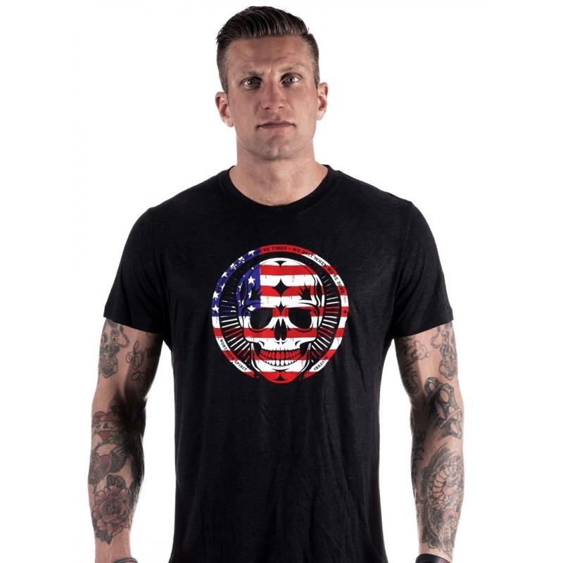 grossiste t shirt homme crossfit black tee american skull. Black Bedroom Furniture Sets. Home Design Ideas