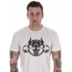 T-shirt Crossfit Homme - White Tee Barbell Viking