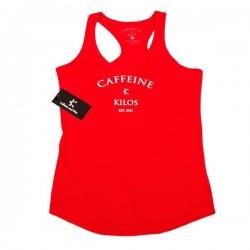 Débardeur Femme Rouge pour Athlète - CAFFEINE & KILOS