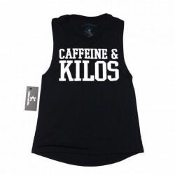 Muscle tank Femme Noir pour Athlète - CAFFEINE & KILOS