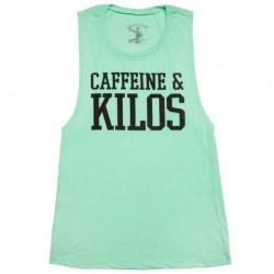 Muscle tank Femme Vert pour Athlète - CAFFEINE & KILOS