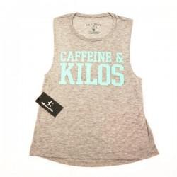 Training muscle tank light grey for women - CAFFEINE AND KILOS