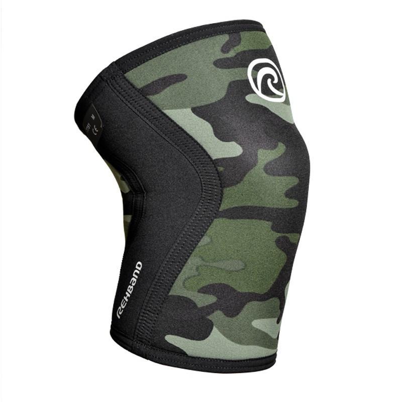 bfd5926cd0 Unisex 5 mm pair of Knee sleeves REHBAND Green Camo Model