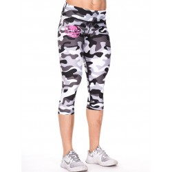 Legging Femme mi-long Gris Camo Skull pour CrossFiteuse - NORTHERN SPIRIT