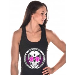 Training tank black FLOWER EYES for women - NORTHERN SPIRIT