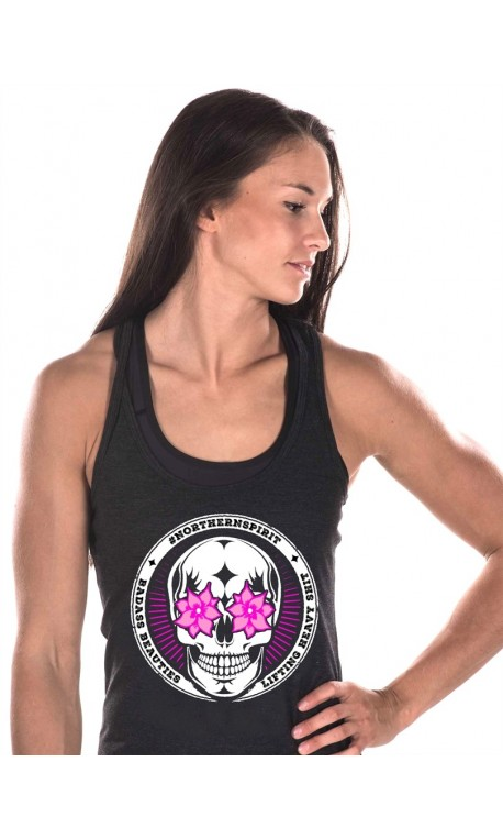 17f5e390f27ad Women s workout tank NORTHERN SPIRIT black FLOWER EYES model