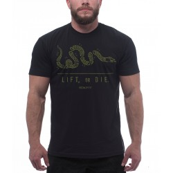 T-Shirt Noir LIFT OR DIE pour Crossfiteurs Fan d'Haltéro ROKFIT