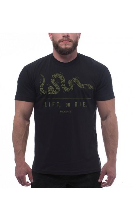 T-Shirt Noir LIFT OR DIE pour Athlète  Fan d'Haltéro ROKFIT
