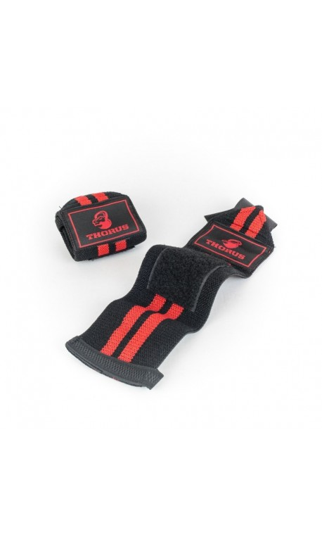 Bandes de poignets THORUS Noir et Rouge Ideale Haltérophilie et crossfiteurs