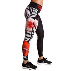 Legging Femme Rouge Flowers pour Athlète by NORTHERN SPIRIT