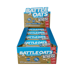 Pack de 12 barres protéinées Cookies & Cream pour Athlète by BATTLE OATS