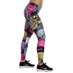 Legging Femme Multicolor Multi Skull pour Athlète by NORTHERN SPIRIT