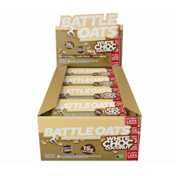 Pack de 12 barres protéinées White choc Coconut pour Athlète by BATTLE OATS