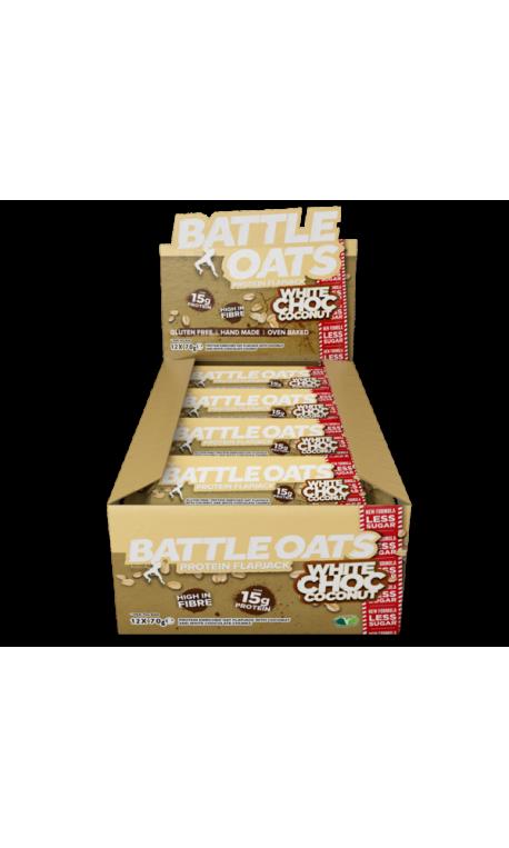 Pack de 12 barres protéinées White choc Coconut pour CrossFiteur by BATTLE OATS
