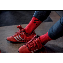 Chaussettes athlete 2.0 rouges logo noir pour Athlète by CAFFEINE AND KILOS