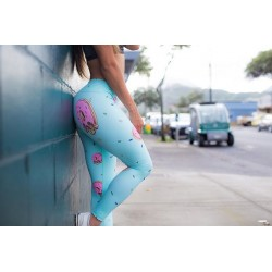 Leggins Femme bleu DONUT  SKULL pour CrossFiteuse by FEED ME FIGHT ME