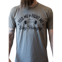 T-shirt Homme Gris STAY HUNGRY pour Athlète by FEED ME FIGHT ME