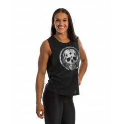 Muscle Tank Femme Noir SKULL Argent pour athlète by NORTHERN SPIRIT