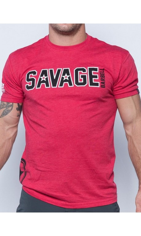 5451d0c3 Tee-Shirt homme rouge HIP STAR pour athlète by SAVAGE BARBELL