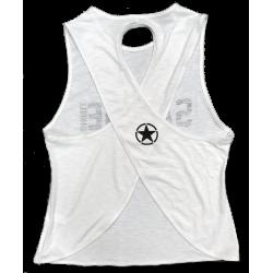 Débardeur large croisé femme blanc STORMY WHITE  pour athlète by SAVAGE BARBELL
