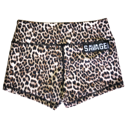 SAVAGE BARBELL Short  entraînement femme Marron LEOPARD