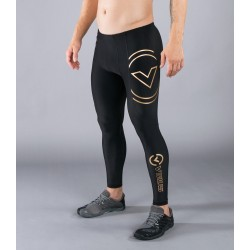 Leggins de compression Homme noir AU9 - V2 TECH BIOCERAMIC ™ motif Or pour athlète by VIRUS