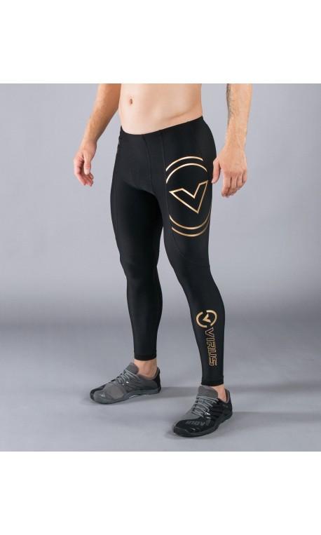 Leggins de compression Homme noir AU9 - V2 TECH BIOCERAMIC ™ motif Or pour athlète by VIRUS