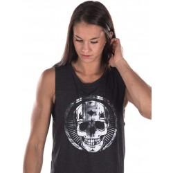 Boutique Débardeur noir Femme Crossfit - Muscle Tank white broken Skull