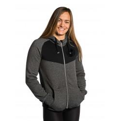 Sweat à capuche BICOLORE Femme Noir et gris SKULL pour athlète by NORTHERN SPIRIT