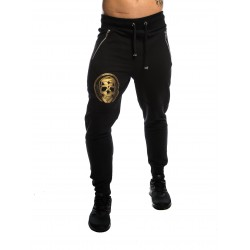 Jogging unisexe noir SMALL GOLD SKULL pour athlète by NORTHERN SPIRIT
