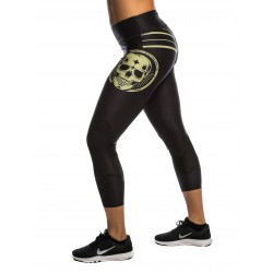 Legging 7/8 femme Goldic Skull noir pour Athlète by NORTHERN SPIRIT