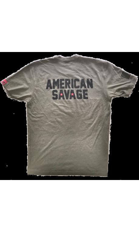 95b7d5326f93 Men workout t-shirt SAVAGE BARBELL green American Savage model