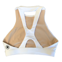 Brassière sport  blanche HIGH NECK WHITE  pour athlète by SAVAGE