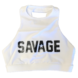 Training bra white HIGH NECK for women - SAVAGE BARBELL
