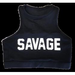Brassière sport  noire HIGH NECK BLACK  pour athlète by SAVAGE