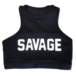 Training bra black HIGH NECK for women - SAVAGE BARBELL