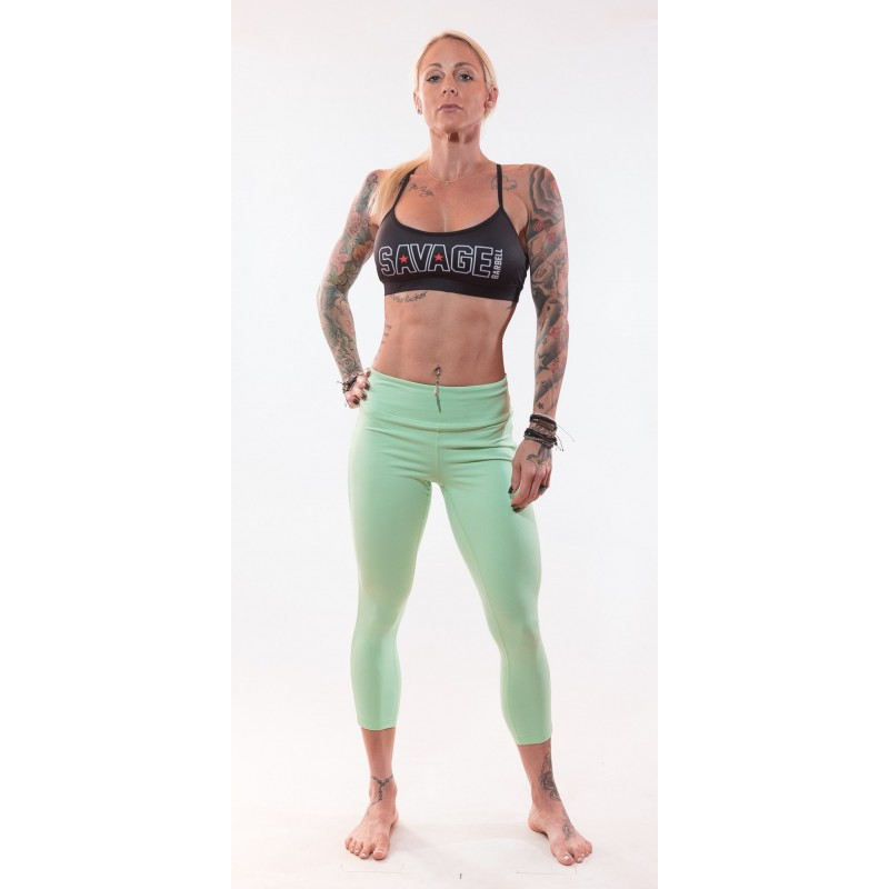 95d83e78cd8450 Women's workout legging SAVAGE BARBELL green SEA FOAM model