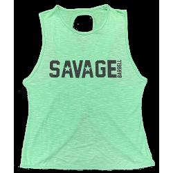 Débardeur large croisé femme vert SEA FOAM pour athlète by SAVAGE BARBELL