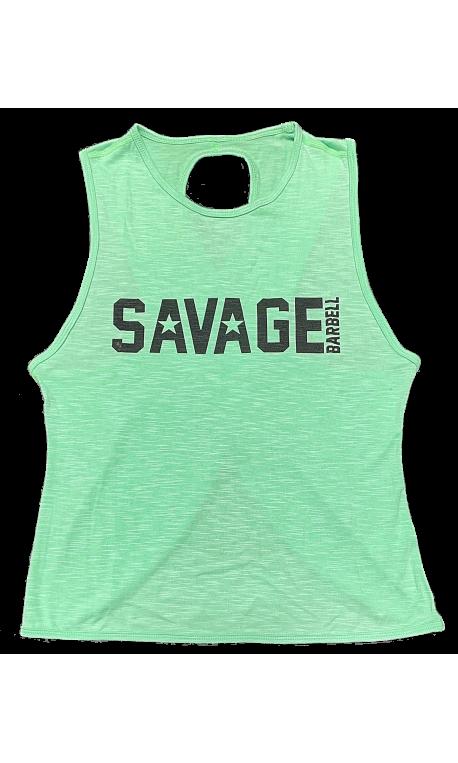 meilleur site web a1f04 fd651 Débardeur large croisé femme vert SEA FOAM pour athlète by SAVAGE BARBELL