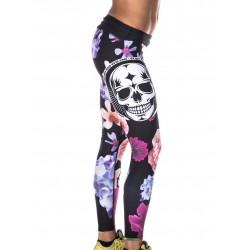 Training legging multicolor FLOWER SKULL for women - NORTHERN SPIRIT