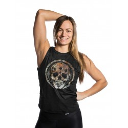 Training muscle tank black RUSTY SKULL for women - NORTHERN SPIRIT