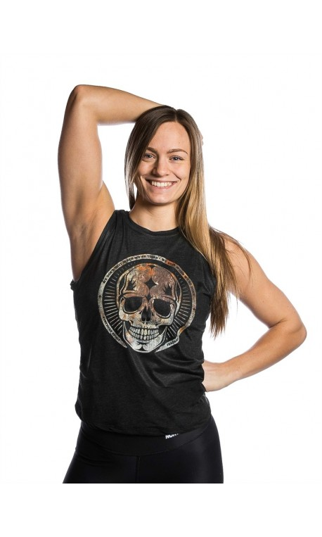 b65d6f3705ed4 ... Top Training muscle tank black RUSTY SKULL for women - NORTHERN SPIRIT.  Débardeur LARGE Femme Noir RUSTY SKULL pour athlète by NORTHERN