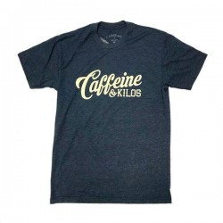 T-shirt navy grey script logo T for men - CAFFEINE AND KILOS