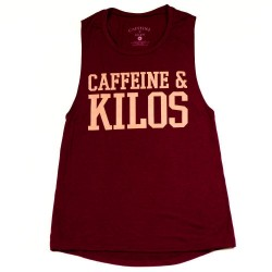 Woman grey muscle tank green CK for athlete - CAFFEINE & KILOS