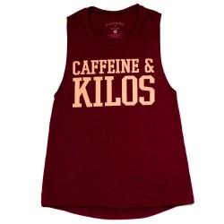 Muscle tank bold logo Femme rouge pour Athlète - CAFFEINE & KILOS