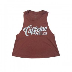 Crop top Femme script logo rouge pour Athlète - CAFFEINE & KILOS