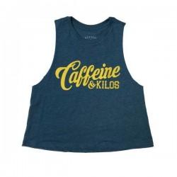Crop top Femme script logo bleu pour Athlète - CAFFEINE & KILOS